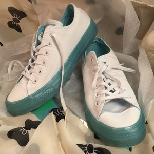 Converse white/ bleached aqua low top sneakers 8